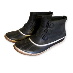 Sorel Black Leather and Rubber Slip On Winter Booties - Women's Size 11